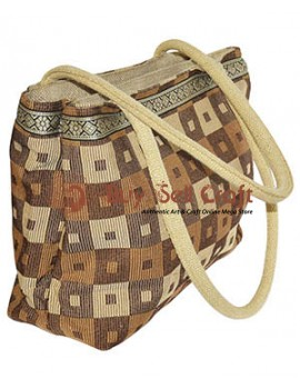 Designer Double Pocket Jute Vanity Bag