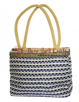 Nice Pattern Double Pocket Jute Vanity Bag