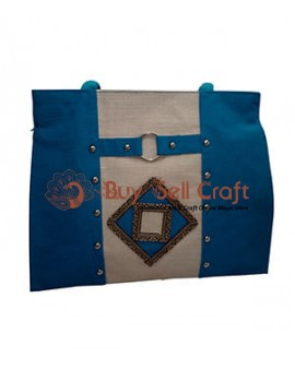 Blue & Off-White Jute Bag