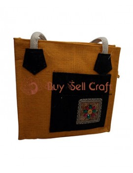 Yellow and Black Jute Bag
