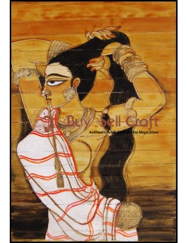 Palm Leaf Painting-Woman is showing her long hair