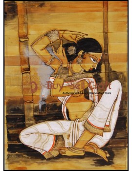 Palm Leaf Painting-Woman is resizing her hair